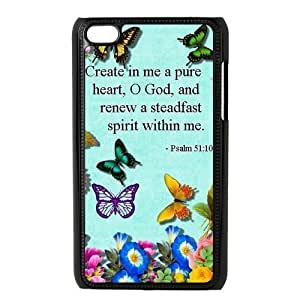 Danny Store Protective Hard PC Cover Case for iPod Touch 4, 4G (4th Generation), Bible Verse Psalm 51:10 by supermalls