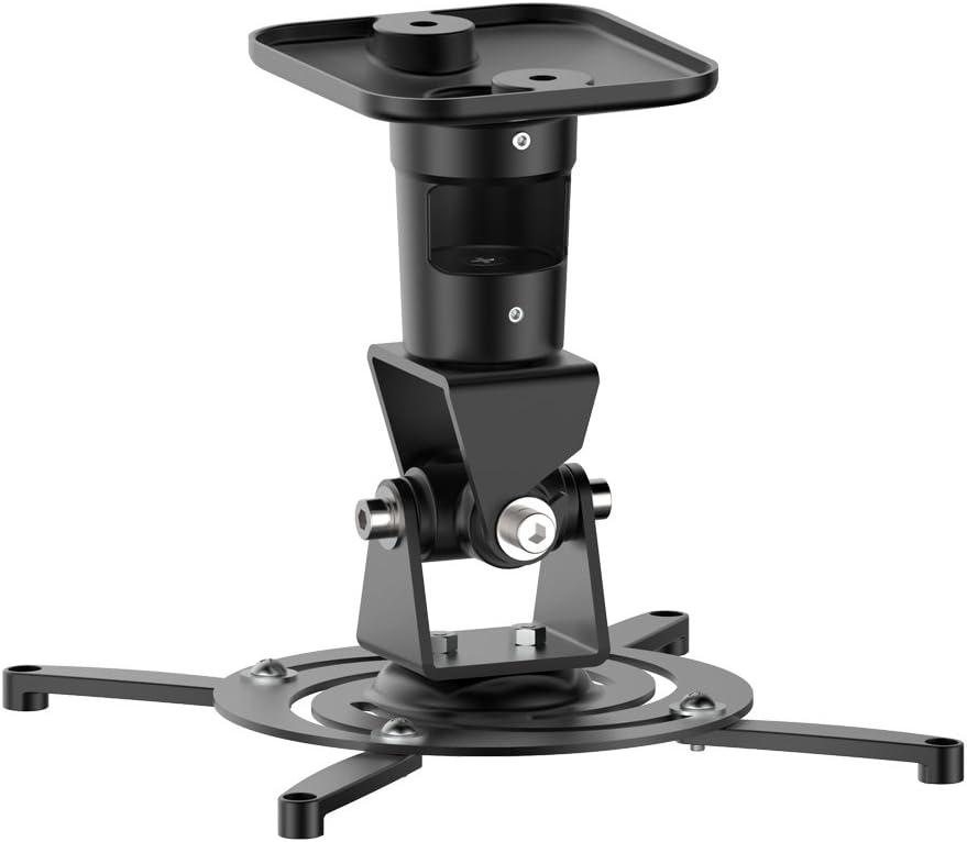 PureMounts PM-Spider-Plus-B – Soporte de Techo para Videoproyector / Cañón, (rotativo e inclinable 25°), Distancia al Techo fija de 22cm, 15kg, Distancia entre Agujeros de Tornillo 180–310mm, negro