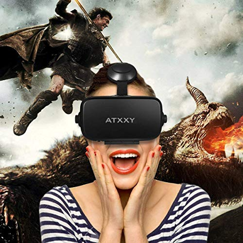 VR Headset,3D Virtual Reality headsets with Remote Controller 3D VR Goggles with Stereo Headphone for 3D Movies & VR Games, Fit for 4.7-6.2 inch iOS/Android Smartphone by ATXXY (Image #7)