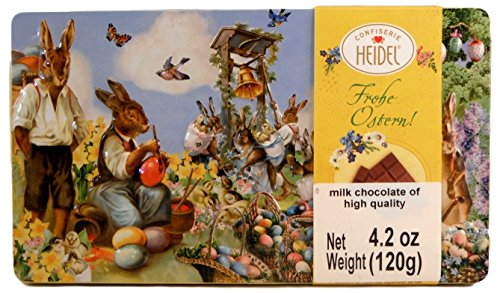 Confiserie Heidel German Easter Chocolate Filled Tin - Bunnies Painting Eggs Design