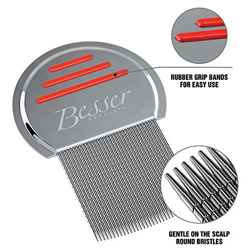 Stainless Steel Head Lice Comb - Pro Grade Louse and Nit Removal - Grooved, Rounded Teeth for Comfort and Best Results - Colors May Vary - by Besser Products (1)