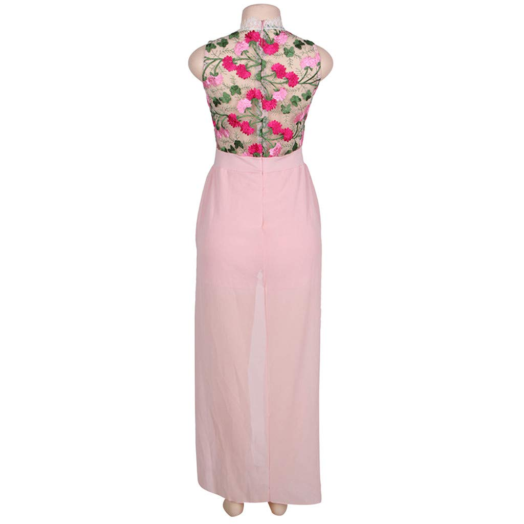 ❤️❤️ Women's Halter Neck Floral Print See Throught Split Beach Lace Romper Short Sleeve Party Maxi Dress Pink by Huitian23-Dress (Image #4)
