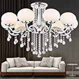 Y&L® Modern Luxury Living Room Ceiling Lamp Fixture Crystal Chandelier Lighting Glass Ball Shade