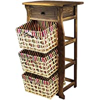 DL-Furniture Fully Assembled Night Stand 100% Light Weight Basswood W/ Basket for Extra Storage | 4 Tier 3 Baskets | Finish: Nature