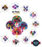Bargain World 10'' Hibiscus Folding Fans [12-Pack] | Fun & Exciting Hand Fans For Kids & Teenagers From Our Huge Collection | Sticky Notes Included