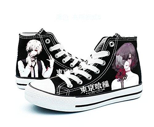 Tokyo Ghoul Kaneki Ken Cosplay Chaussures Toile Chaussures Sneakers Noir / Blanc Noir 6