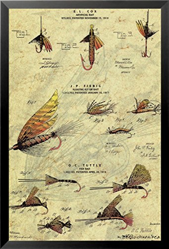 Buyartforless Framed The Fishing Fly 16x20 Art Print Poster Fishing Fly Patent Design Drawing Artificial Floating Fly or Fishing Bait Mechanical Design and - Framed Fishing Fly