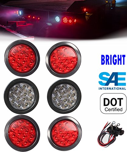 "6 Truck Trailer 4"" Round LED Light (4 RED + 2 WHITE) Brake Stop Turn Tail Back up Reverse Fog"