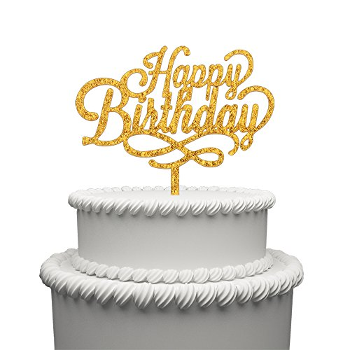 A Series Of Happy Birthday Acrylic Cake Topper - Various Birthday Cake Supplies Decorations (Gold) -