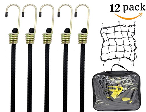 Blissun Heavy Duty Bungee Cord with Hooks, 36'' Industrial Quality Bungee Core, Free Bonus Cargo Net, All Black (12 Pack) by Blissun