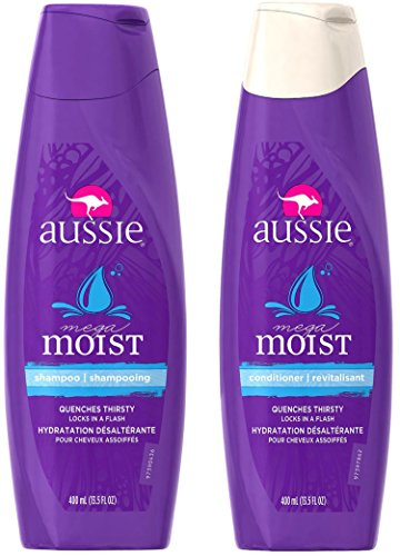 Aussie Mega Moist Shampoo and Conditioner Set, 13.5 Ounce