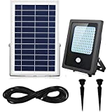 Solar Flood Lights Motion Sensor Outdoor&Indoor 120Leds 1000Lumen Rechargeable Solar powered led security light 5-6 Nights Working for Garden,Yard,Porch,Patio,Garage,Pool,Street,Sign,Billboard (White)