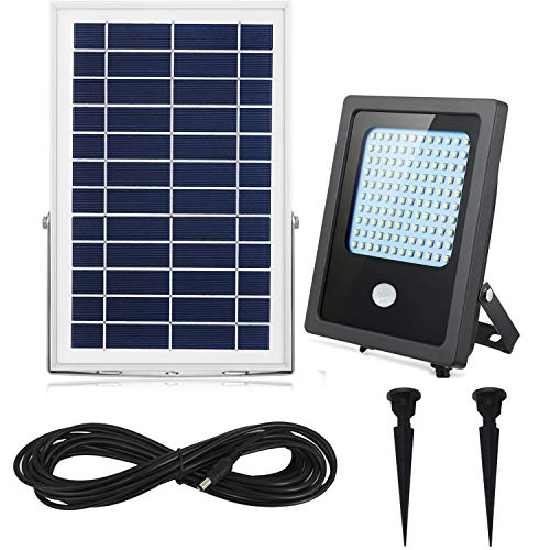Solar Flood Lights Motion Sensor Outdoor&Indoor 120Leds 1000Lumen Rechargeable Solar powered led security light 5-6 Nights Working for Garden,Yard,Porch,Patio,Garage,Pool,Street,Sign,Billboard (White) For Sale