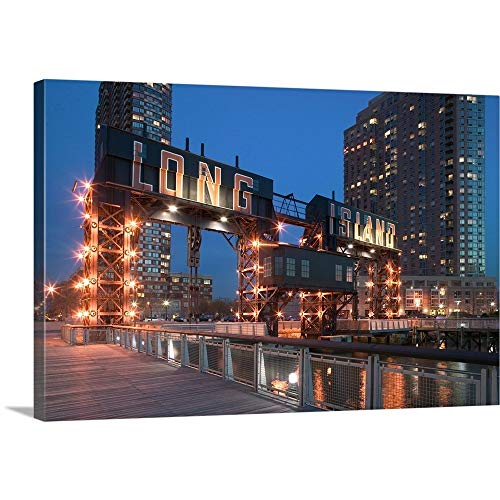 Queen Wall Pier (Walter Bibikow Premium Thick-Wrap Canvas Wall Art Print entitled NYC, Queens: Long Island City, Long Island City Ferry Piers Park and Highrises 30