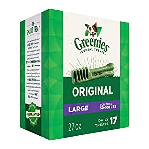 GREENIES Dental Dog Treats, Large, Original Flavor, 17 Treats, 27 oz.