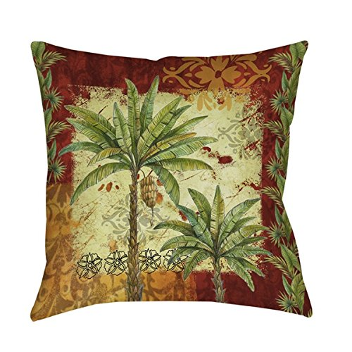 Single-Piece-Tropical-Palm-Tree-Decorative-Pillow-Beautiful-Coastal-Themed-Cushion-All-Over-Hawaii-Beach-Throw-Couch-Sofa-Bed-Cushion-Hawaiian-Nature-Flowers-Golden-Gold-Yellow-Red-Leaf-Green