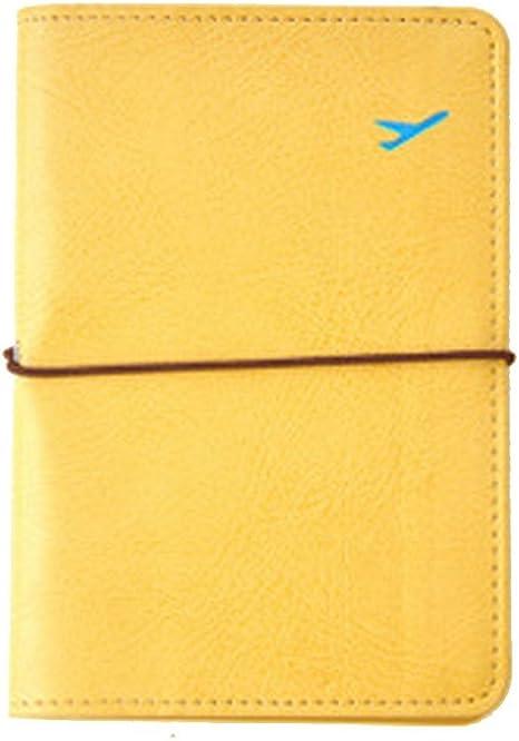 Yistu Durable Voyager faux cuir Porte-passeport Carte Cas Protecteur Couverture Jaune