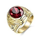 MASOP Anti Allergic Stainless Steel Rings Men Engraved Jewelry Oval Red Stone