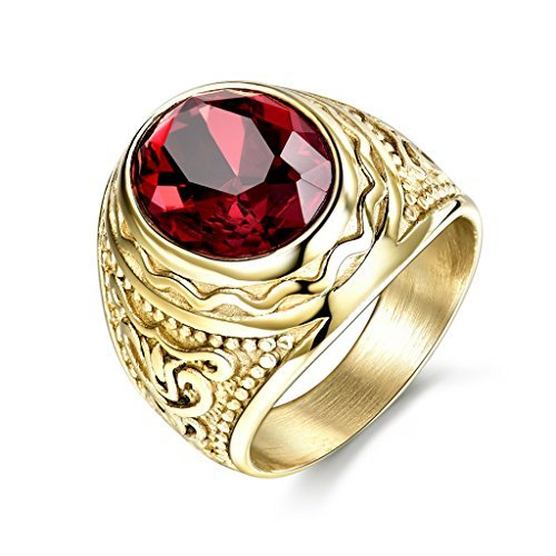 MASOP Anti Allergic Stainless Steel Rings Men Engraved Jewelry Oval Red Stone ()