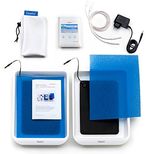 Saalio® DE Set - Iontophoresegerät gegen Schwitzen an Händen und Füßen, Puls- & Gleichstrom - mit Silikonelektroden (Neuentwicklung 2015, made in Germany, Iontophorese)