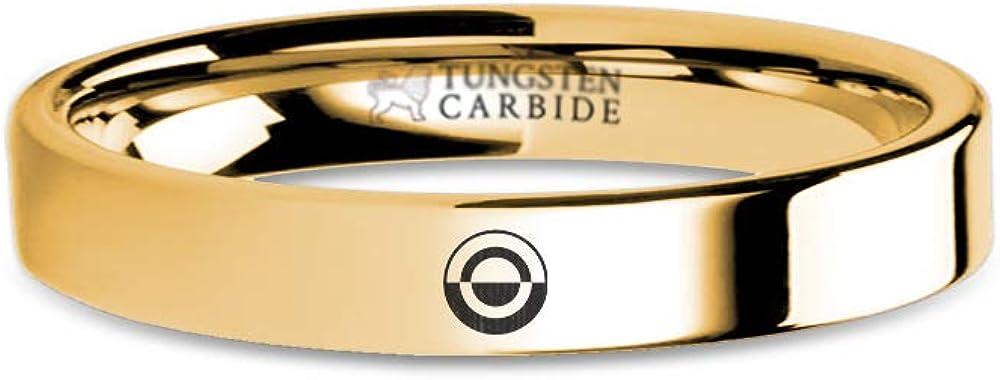 4 mm Star Wars Solo Crimson Dawn Emblem Engraving Gold Tungsten Ring
