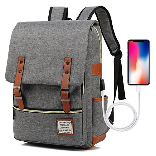- UGRACE Vintage Laptop Backpack with USB Charging Port, Elegant Water Resistant Travelling Backpack Casual Daypacks School Shoulder Bag for Men Women, Fits up to 15.6Inch MacBook in Grey