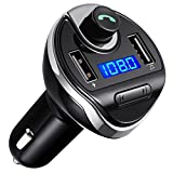AMIR Bluetooth FM Transmitter, Wireless In-Car FM Transmitter Radio Adapter Car Kit, Universal Car Charger with Dual USB Charging Ports, Hands Free Calling for iPhone, Samsung, etc.