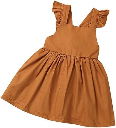 asdkfh Bebé Niña Vestido de Algodón Mini Vestidos Elegantes Fiesta ...