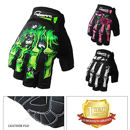 Cycling Gloves Mountain Bike Gloves Bicycle Riding Gloves Fingerless Biking Sports Gloves Skeleton Gloves For Women and Girls (Pink-Half Finger, Small)