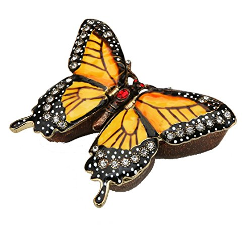Box Trinket Pill (Sparkling Collectibles Monarch Butterfly Figurine Keepsake Box Swarovski Crystals Hinged Trinket Pill Box Orange Black 3.25