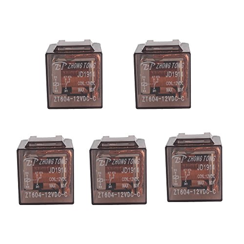 E Support Car Relay 12v 80a Spst 5pin Pack of 5