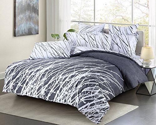 Set Tree Abstract (Swanson Beddings Tree Branches 5-Piece 100% Cotton Bedding Set: Duvet Cover, Two Pillow Shams and Two Euro Shams (Grey-White, King))