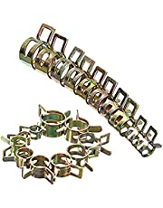 100 Pcs Spring Band Type Clamps Vacuum Fuel Hoses Line, Pipe Tube Clamp Fasteners Assortment Kit, 6/7/8/9/10/11/12/13/14/15mm