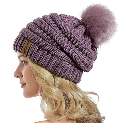- Women Knit Slouchy Beanie Chunky Baggy Hat with Faux Fur Pompom Winter Soft Warm Ski Cap (Purple)