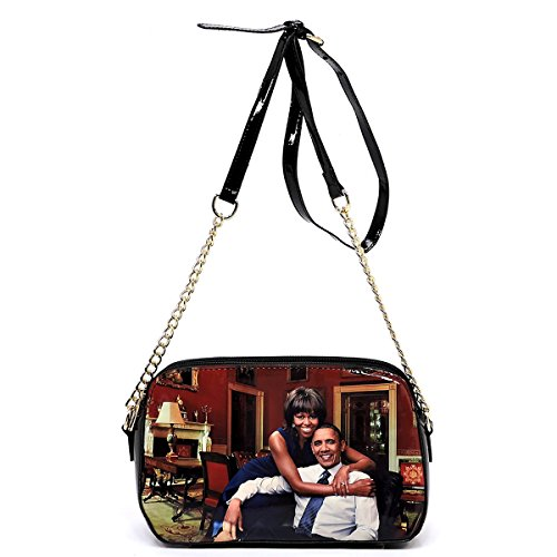 Glossy magazine cover collage cross body handbags purses clutches and wallets Michelle Obama bags (Cross body 8) by Amy & Joey