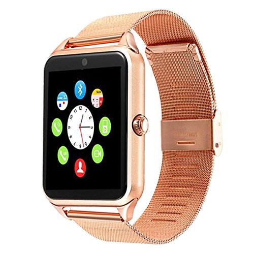 Bluetooth Smart Watch DOROIM Stainless Steel Strap, Camera, Call SMS Reminder, Sleep Monitor, Pedometer, Support SIM TF Card for Android iPhone Men Women Boys Girls by DOROIM