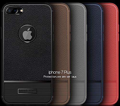 Funda iPhone7 Plus,Funda Fibra de carbono Alta Calidad Anti-Rasguño y Resistente Huellas Dactilares Totalmente Protectora Caso de Cuero Cover Case Adecuado para el iPhone7 Plus B