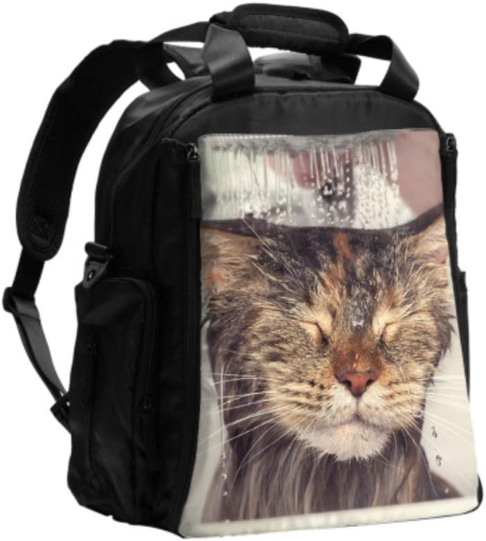 Bolsa de cambio para mujer Un gato se baña en un baño Bolsa de pañales de viaje Mochila Mochila de viaje multifunción con almohadilla para cambiar pañales para el cuidado del bebé