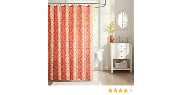 Amazon Intelligent Design ID70 789 Pilar 100Percent Microfiber Printed Shower Curtain 72x72 Coral72x72 Home Kitchen