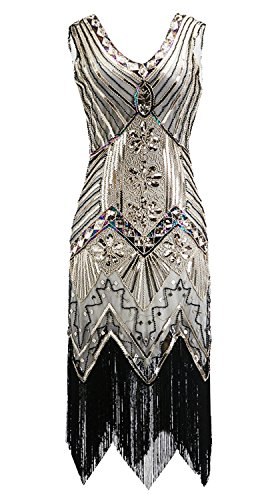 ZX Dancewear Women 1920s Gatsby Sequin Embellished Fringed Flapper Latin Dress (Large, Gold-1) for $<!--$19.99-->