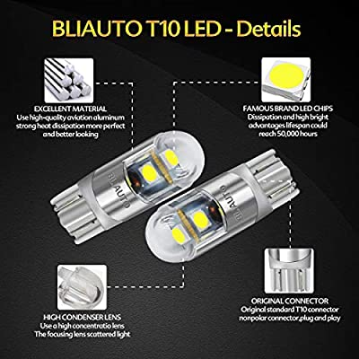 BLIAUTO 194 168 Led Bulb Ice Blue, T10 W5W 2825 3SMD Led Bulb, License Plate Light Bulbs for Car Interior Dome Map Door Turn Signal Trunk Clearance Compact Wedge Parking Side(6PCS): Automotive