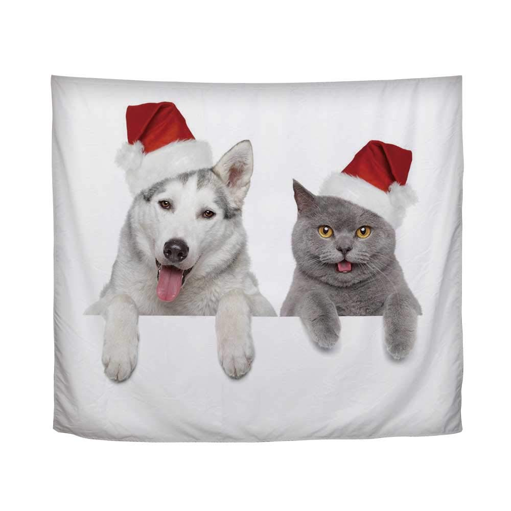 YOLIYANA Christmas,Cute Dog and Cat in Santa Red Hats Funny Puppy and Kitty Domestic Pet Animal,61'' L x 90'' W