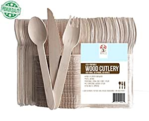 "Disposable Wooden Cutlery Utensils set, Eco-Friendly Biodegradable Compostable Wood Utensil, Party Supplies, Camping, Weddings.. 200pc, 100 Forks, 50 Spoons, 50 Knives, 6"" Long, GO GREEN!"