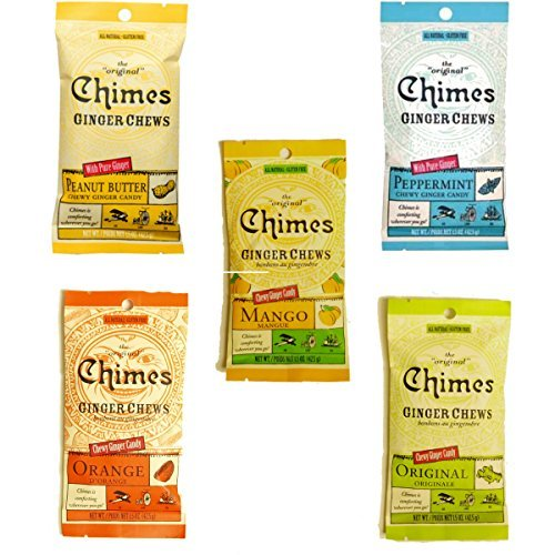 (Chimes' Ginger Chews - 5 Pack - All Flavors! (Original, Mango, Orange, Peanut Butter, and Peppermint))