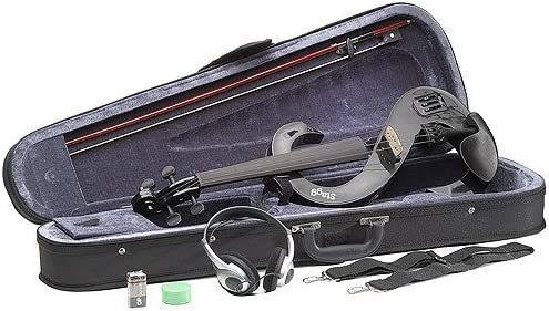 Bow, NEW Stagg EVN 4//4 S-Shaped Electric Violin Metallic Black Rosin Case