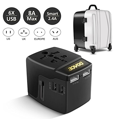 DOACE A6 Universal Travel Power Adapter 8A with 6 USB Charging Ports , Each High Speed Smart 2.4A Max, Worldwide All in One AC Outlet Plug Wall Charger Adapter Converting for Europe, UK, US, AU, Asia A/c Fits All Adapter