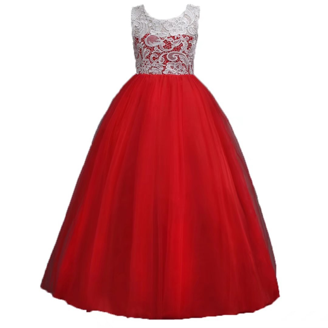 ADHS Kids Baby Girls Flower Floral Wedding Gowns Prom Lace Dresses