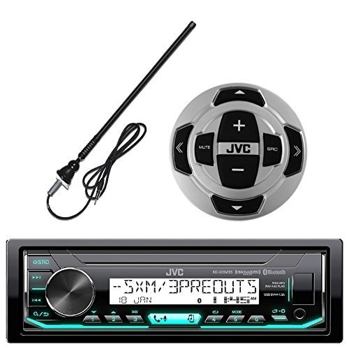 (JVC in-Dash Marine Boat Yacht Bluetooth Radio USB Stereo Receiver Player Bundle Combo)