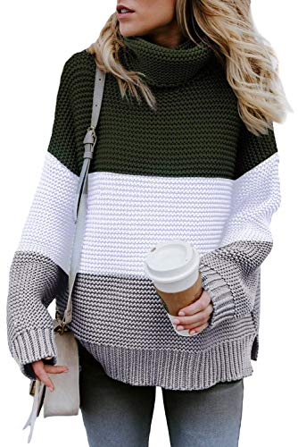 KINGFEN Chunky Knit Plus Size Sweater for Women Turtleneck Loose Pullover Tops