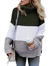 GOLDPKF Oversized Knit Pullover Sweaters for Women Long Sleeve Turtleneck Tops